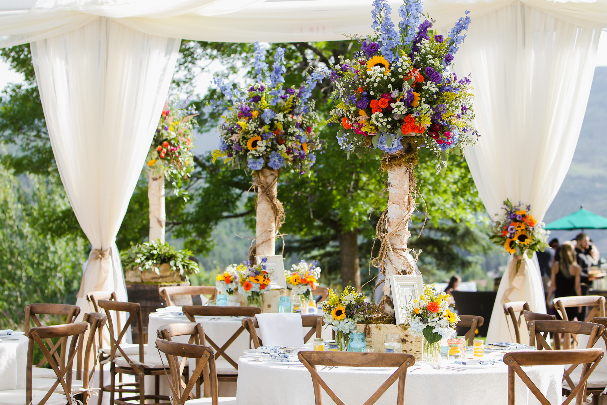Design Works Denver Floral Centerpieces and Tent Draping